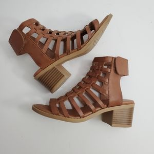 Mia Girl Gladiator Block Heels Brown Size 1